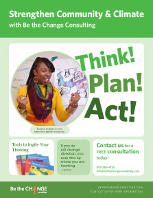 strengthen community and climate. with the be the change consulting. think, act, plan! brochure cover