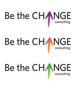 be the change consulting logo, three colors